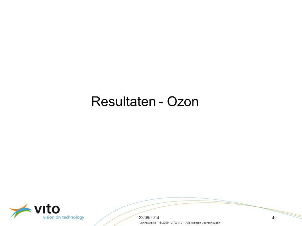 22/09/201440 Vertrouwelijk – © 2009, VITO NV – Alle rechten voorbehouden Resultaten - Ozon