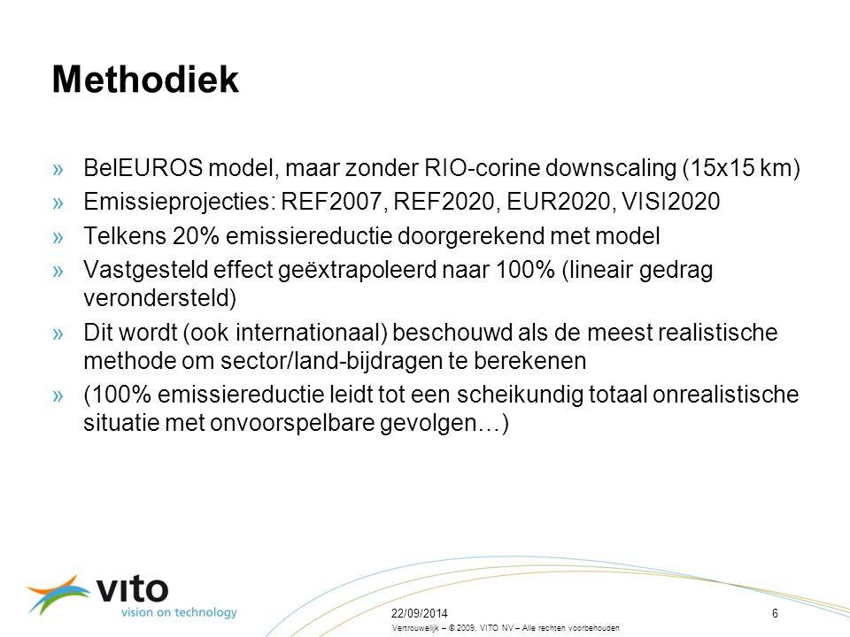 22/09/201437 Vertrouwelijk – © 2009, VITO NV – Alle rechten voorbehouden Analyse van polluentbijdragen van de Vlaamse emissies en emissies van niet-Vlaamse bronnen in de buurregio's aan de PM10-concentraties in Vlaanderen (REF2007) Effect van Vlaamse emissies vs.
