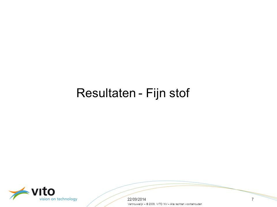 22/09/201418 Vertrouwelijk – © 2009, VITO NV – Alle rechten voorbehouden Bijdrage van de Vlaamse NH 3 -emissies aan de PM10- en PM2,5-concentraties in Vlaanderen – EUR2020 PM10 PM2,5 Bijdrage van 24 % Bijdrage van 31 % 2007 -> 2020: Bijdrage van NH 3 neemt af!
