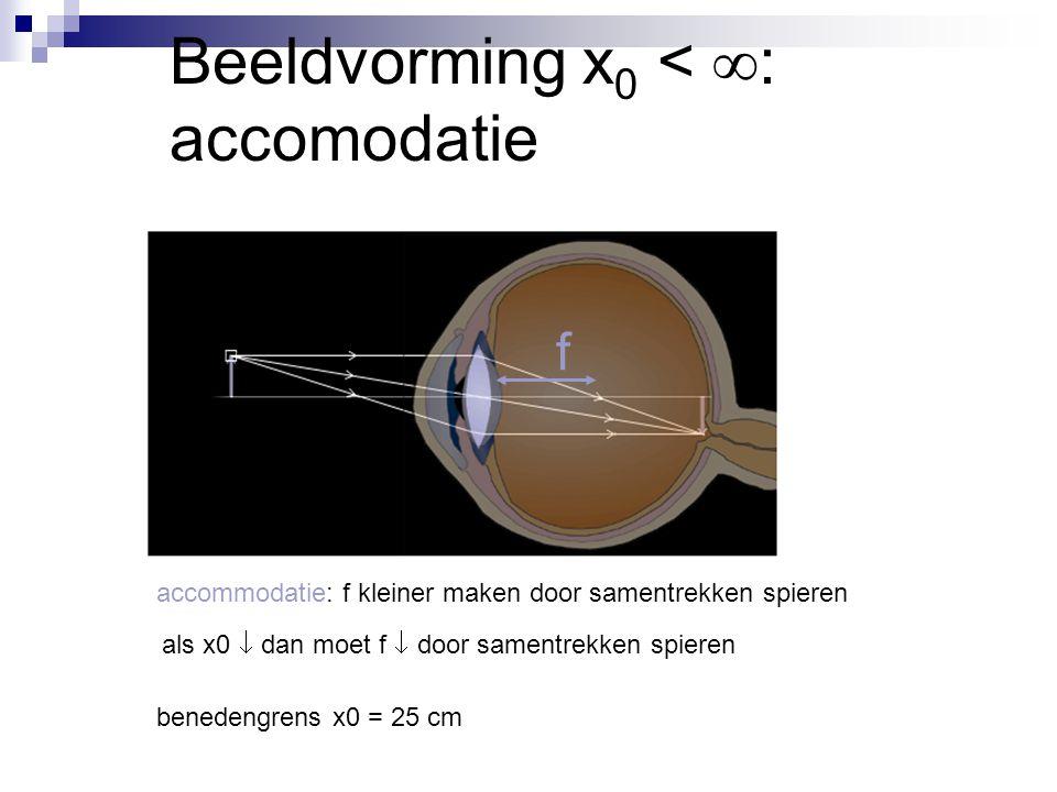 Beeldvorming x 0 <  : accomodatie f accommodatie: f kleiner maken door samentrekken spieren als x0  dan moet f  door samentrekken spieren benedengr
