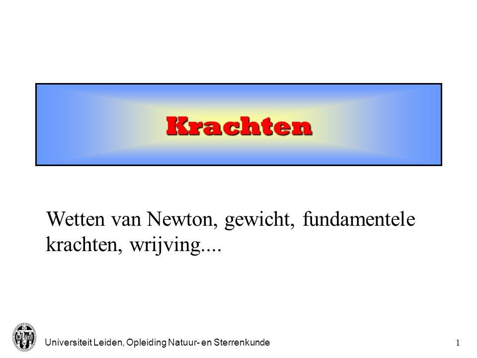 Universiteit Leiden, Opleiding Natuur- en Sterrenkunde1 Krachten Wetten van Newton, gewicht, fundamentele krachten, wrijving....