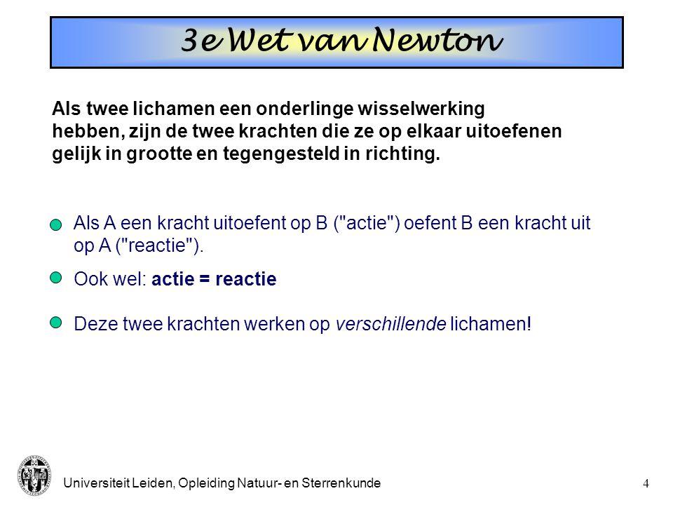 Universiteit Leiden, Opleiding Natuur- en Sterrenkunde4 Als twee lichamen een onderlinge wisselwerking hebben, zijn de twee krachten die ze op elkaar