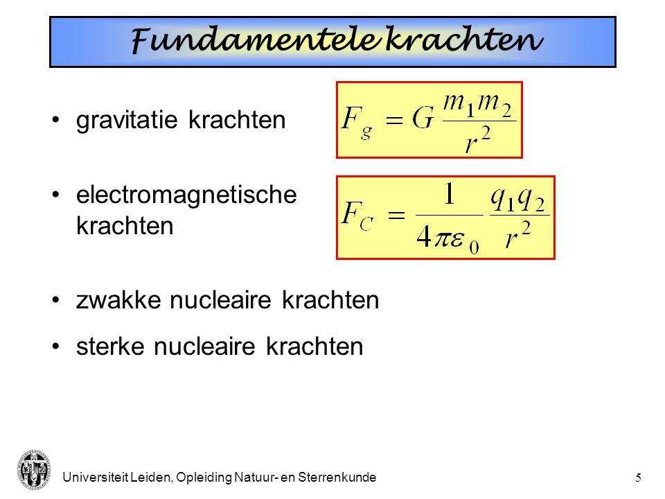 Universiteit Leiden, Opleiding Natuur- en Sterrenkunde5 gravitatie krachten electromagnetische krachten zwakke nucleaire krachten sterke nucleaire kra