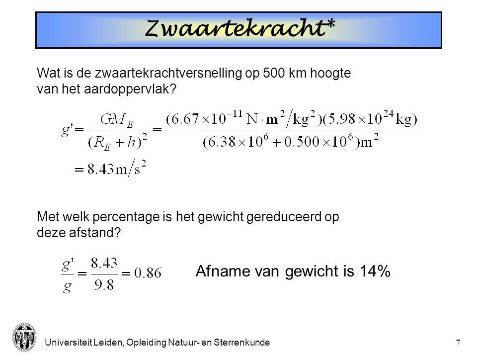 Universiteit Leiden, Opleiding Natuur- en Sterrenkunde7 Wat is de zwaartekrachtversnelling op 500 km hoogte van het aardoppervlak? Afname van gewicht