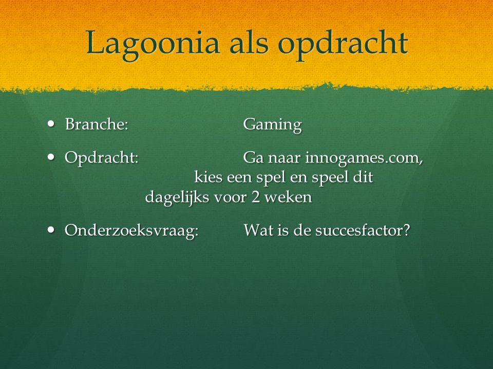 Lagoonia als opdracht Branche: Gaming Branche: Gaming Opdracht:Ga naar innogames.com, kies een spel en speel dit dagelijks voor 2 weken Opdracht:Ga na