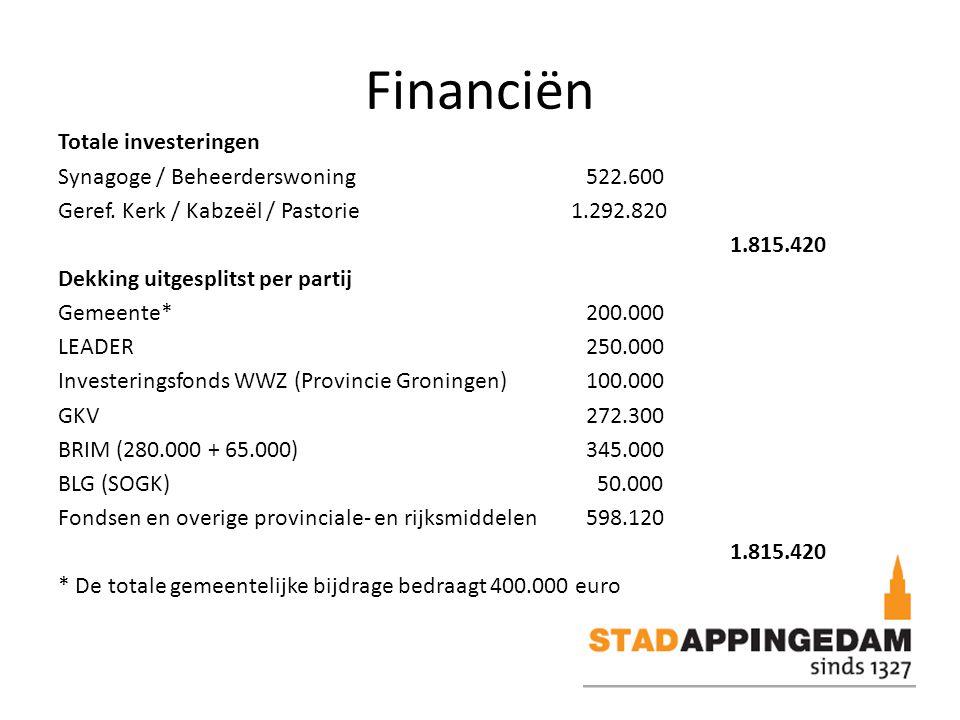Financiën Totale investeringen Synagoge / Beheerderswoning522.600 Geref.