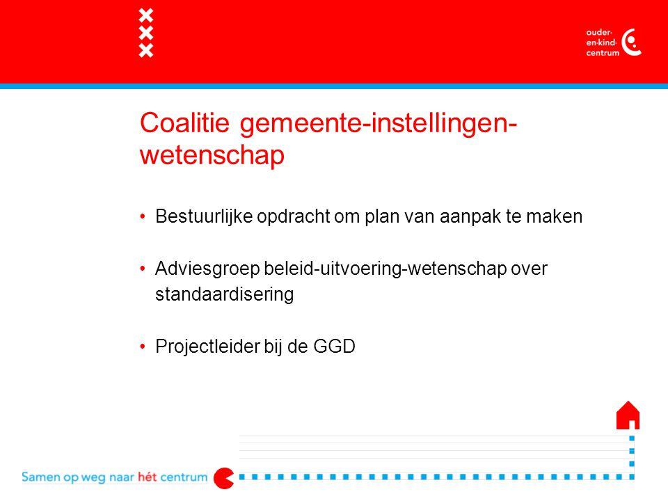 Coalitie gemeente-instellingen- wetenschap Bestuurlijke opdracht om plan van aanpak te maken Adviesgroep beleid-uitvoering-wetenschap over standaardisering Projectleider bij de GGD