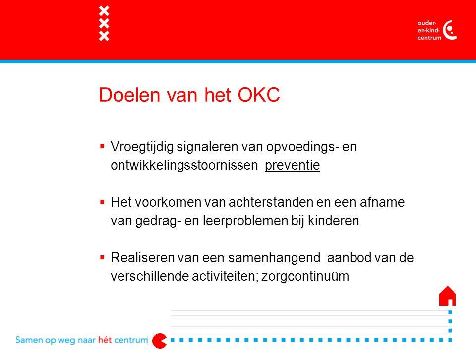 Werkwijze van het OKC  Netwerk van aanbieders onder leiding stadsdelen  Laagdrempelig, voor iedereen, nadruk op preventie  Outreachend voor oudere jongeren  Loket en vraagbaak ook voor professionals  1 gezin 1 plan (MPG)