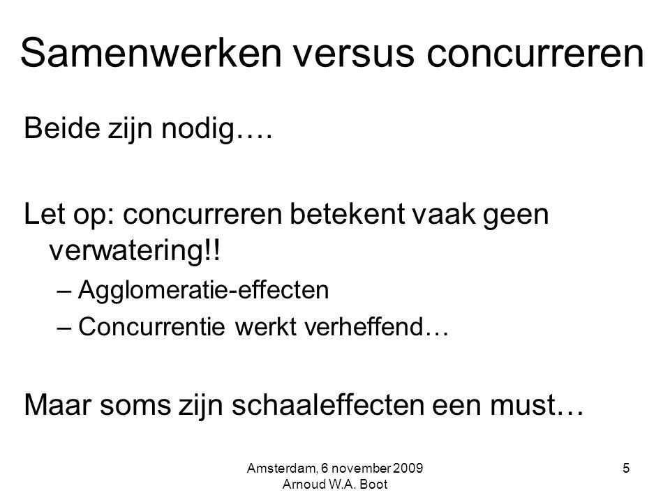 Samenwerken versus concurreren Beide zijn nodig…. Let op: concurreren betekent vaak geen verwatering!! –Agglomeratie-effecten –Concurrentie werkt verh