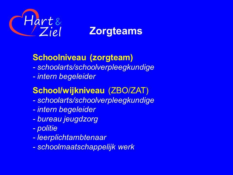 Zorgteams Schoolniveau (zorgteam) - schoolarts/schoolverpleegkundige - intern begeleider School/wijkniveau (ZBO/ZAT) - schoolarts/schoolverpleegkundige - intern begeleider - bureau jeugdzorg - politie - leerplichtambtenaar - schoolmaatschappelijk werk