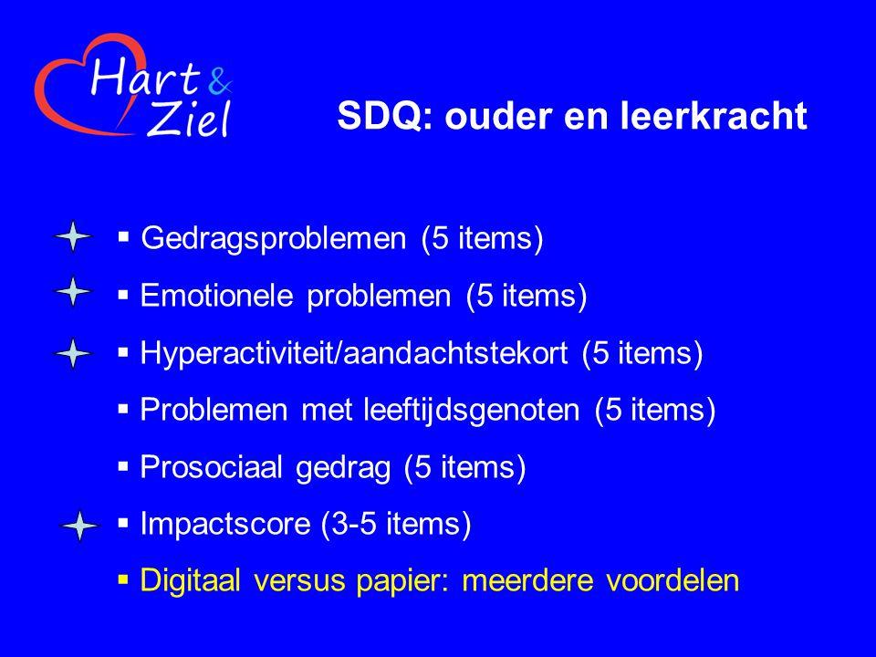 SDQ: ouder en leerkracht  Gedragsproblemen (5 items)  Emotionele problemen (5 items)  Hyperactiviteit/aandachtstekort (5 items)  Problemen met leeftijdsgenoten (5 items)  Prosociaal gedrag (5 items)  Impactscore (3-5 items)  Digitaal versus papier: meerdere voordelen