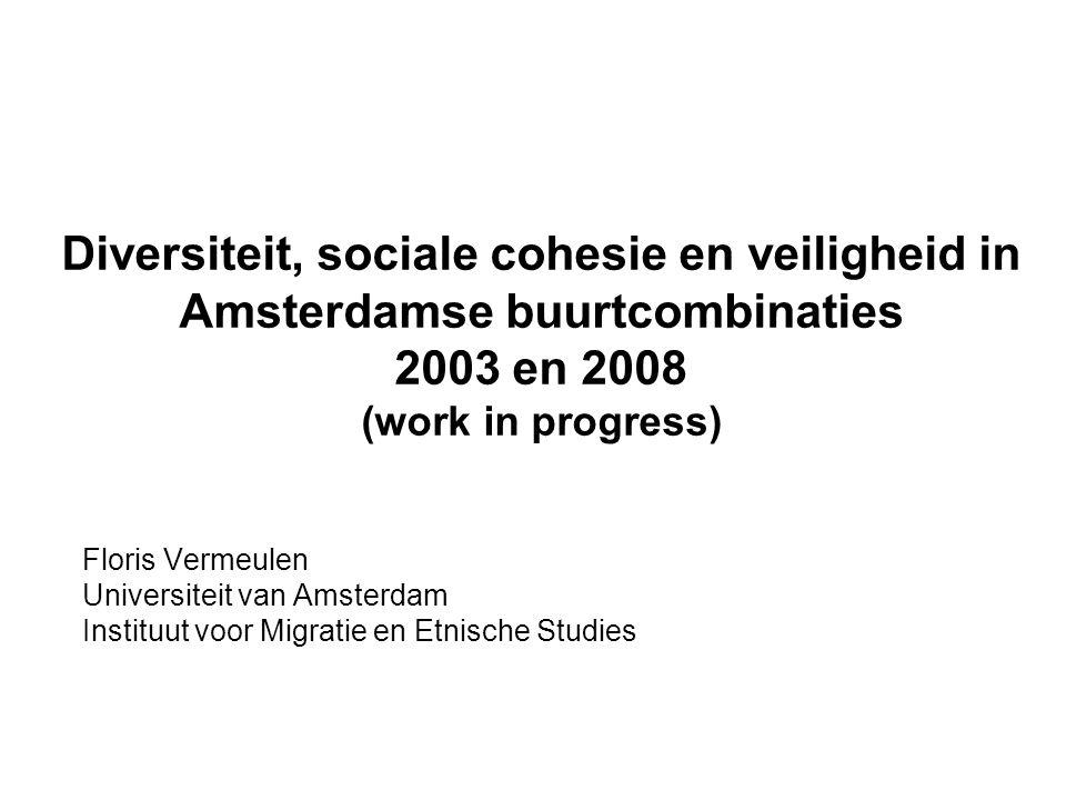 Diversiteit, sociale cohesie en veiligheid in Amsterdamse buurtcombinaties 2003 en 2008 (work in progress) Floris Vermeulen Universiteit van Amsterdam Instituut voor Migratie en Etnische Studies