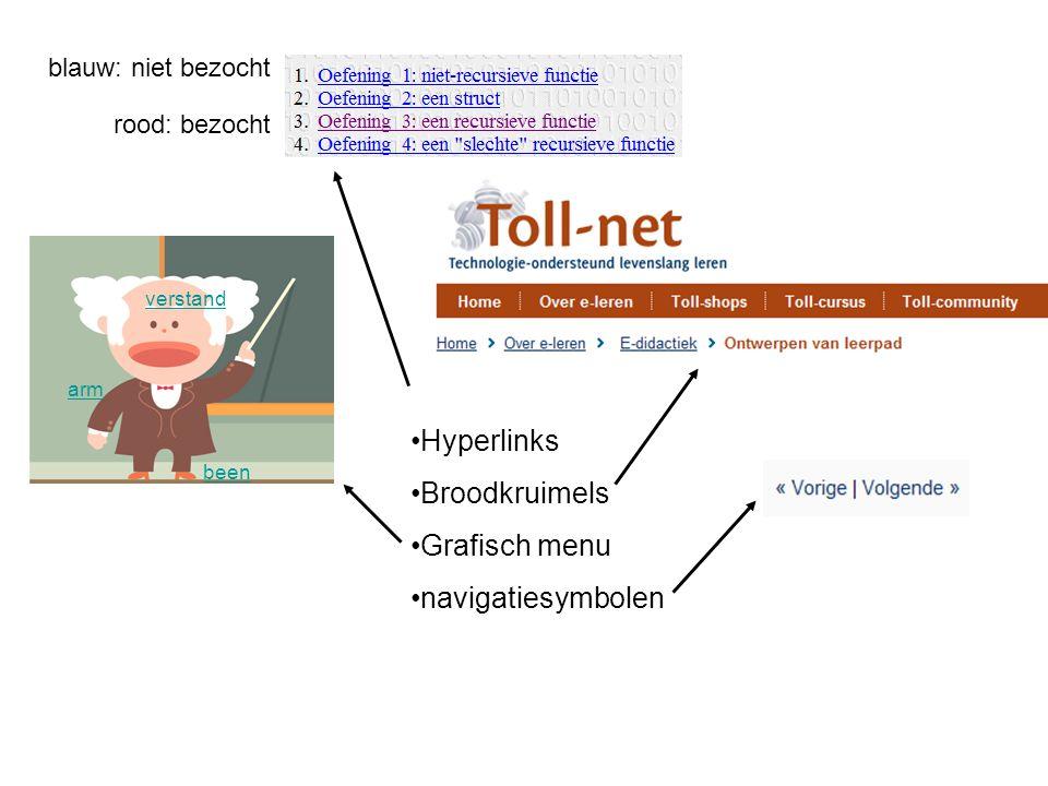 Hyperlinks Broodkruimels Grafisch menu navigatiesymbolen verstand arm been blauw: niet bezocht rood: bezocht