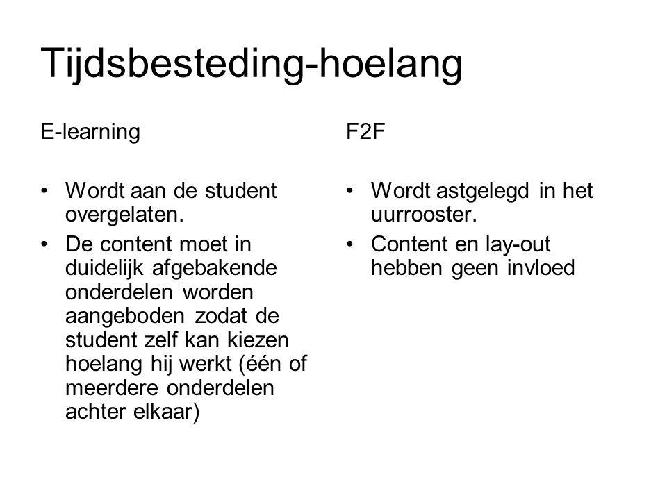 Tijdsbesteding-hoelang E-learning Wordt aan de student overgelaten.