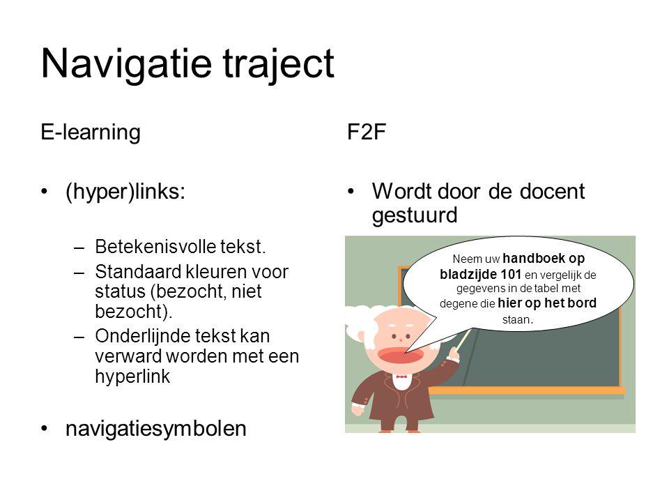Navigatie traject E-learning (hyper)links: –Betekenisvolle tekst.
