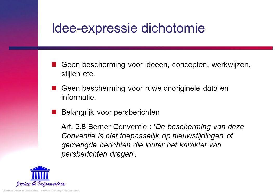 Idee-expressie dichotomie Geen bescherming voor ideeen, concepten, werkwijzen, stijlen etc. Geen bescherming voor ruwe onoriginele data en informatie.