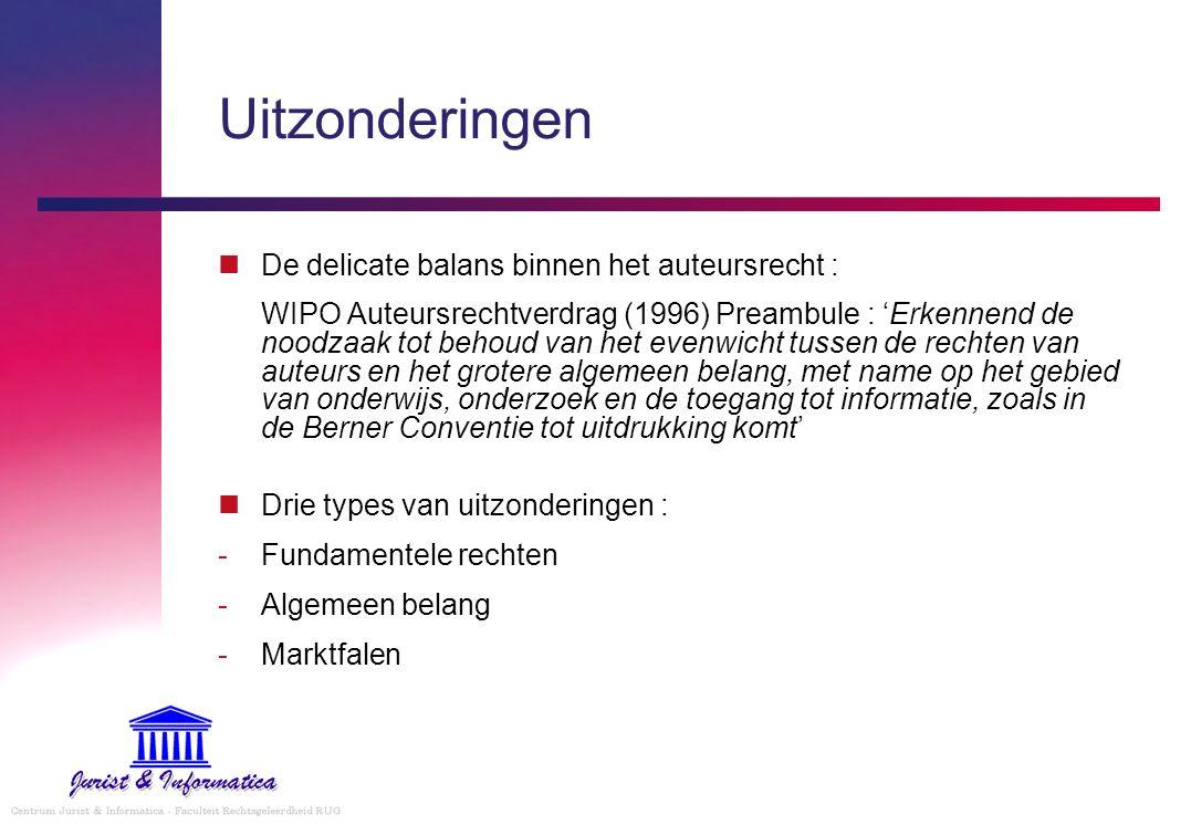 Uitzonderingen De delicate balans binnen het auteursrecht : WIPO Auteursrechtverdrag (1996) Preambule : 'Erkennend de noodzaak tot behoud van het even