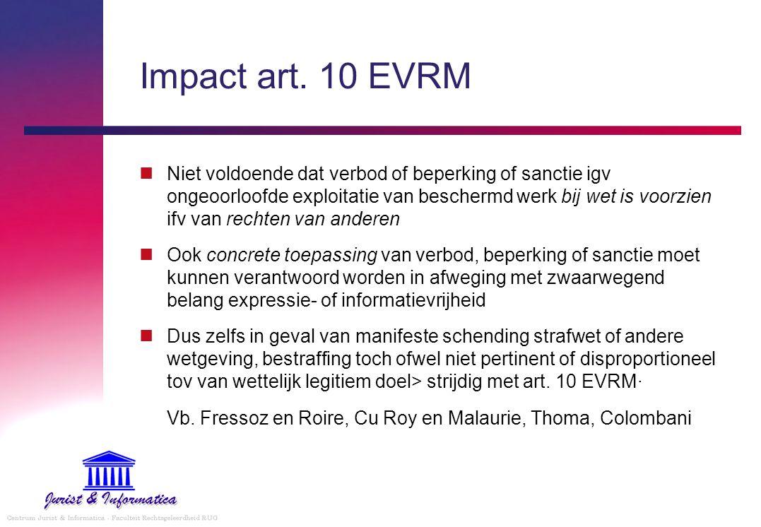 Impact art. 10 EVRM Niet voldoende dat verbod of beperking of sanctie igv ongeoorloofde exploitatie van beschermd werk bij wet is voorzien ifv van rec
