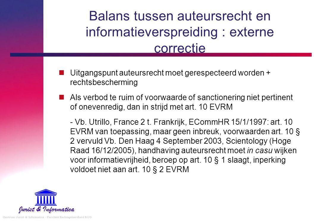 Balans tussen auteursrecht en informatieverspreiding : externe correctie Uitgangspunt auteursrecht moet gerespecteerd worden + rechtsbescherming Als v