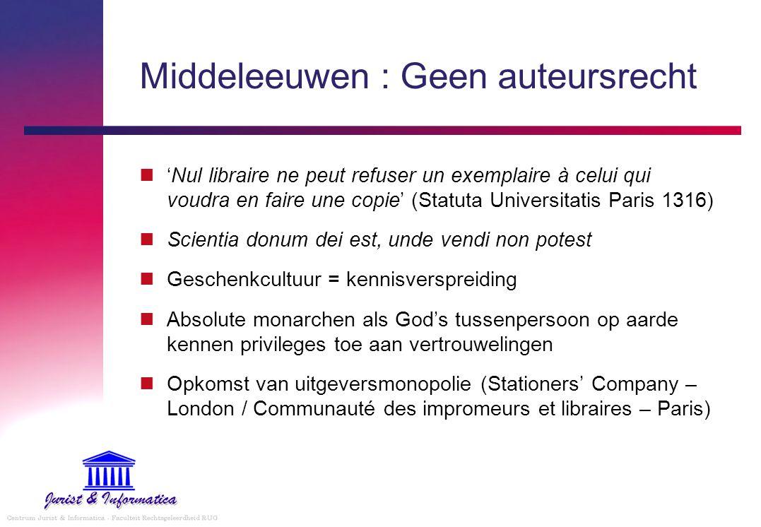Middeleeuwen : Geen auteursrecht 'Nul libraire ne peut refuser un exemplaire à celui qui voudra en faire une copie' (Statuta Universitatis Paris 1316)