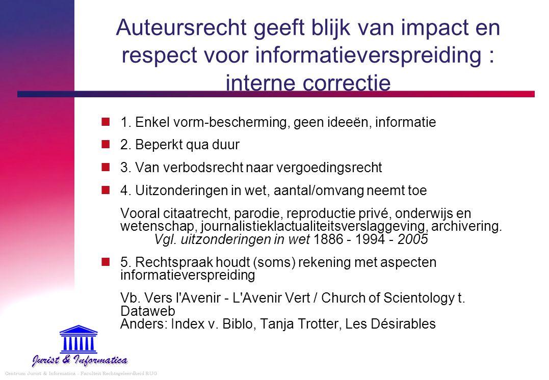 Auteursrecht geeft blijk van impact en respect voor informatieverspreiding : interne correctie 1. Enkel vorm-bescherming, geen ideeën, informatie 2. B