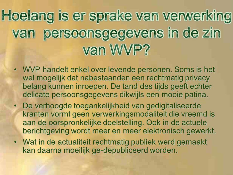 WVP handelt enkel over levende personen.