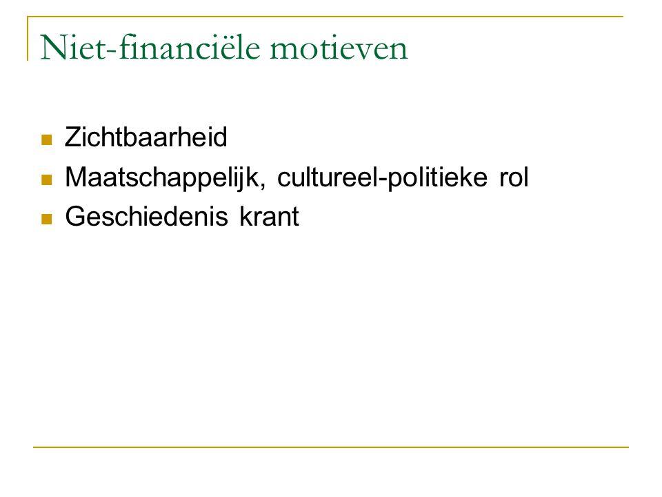 Niet-financiële motieven Zichtbaarheid Maatschappelijk, cultureel-politieke rol Geschiedenis krant