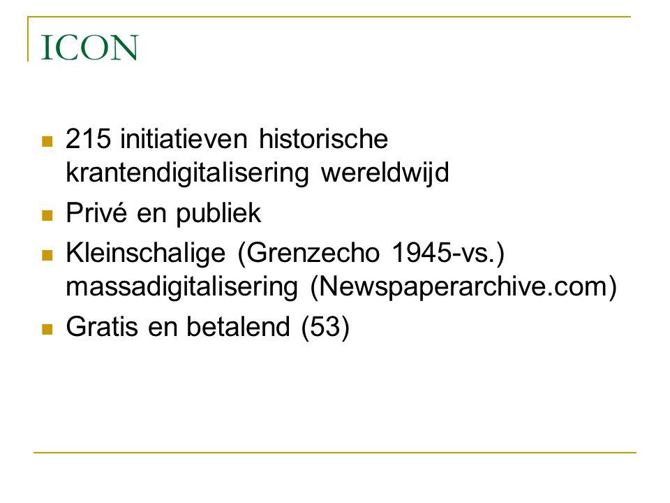 ICON 215 initiatieven historische krantendigitalisering wereldwijd Privé en publiek Kleinschalige (Grenzecho 1945-vs.) massadigitalisering (Newspaperarchive.com) Gratis en betalend (53)