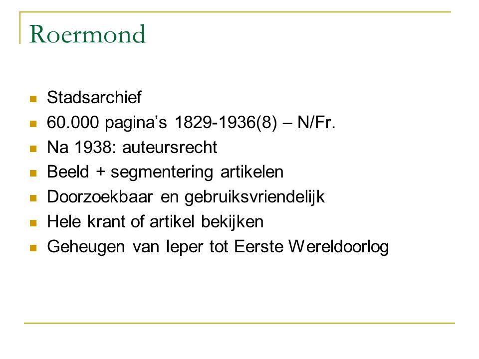 Roermond Stadsarchief 60.000 pagina's 1829-1936(8) – N/Fr.