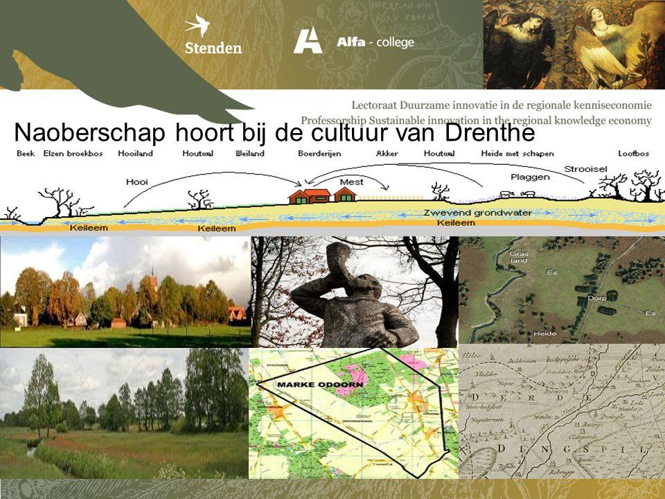 Naoberschap 2.0 / Drentse Erfgoed Delta Stimuleren: - Zelforganisatie van de regio - Kennisdeling en Samenwerking - Nieuwe allianties/verbindingen - Innovaties