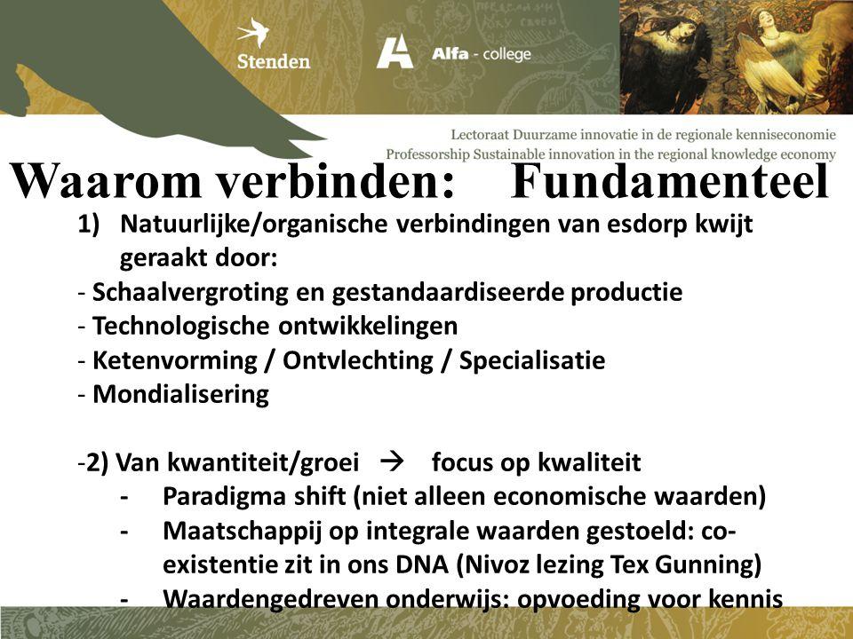 Waarom verbinden: Fundamenteel 1)Natuurlijke/organische verbindingen van esdorp kwijt geraakt door: - Schaalvergroting en gestandaardiseerde productie - Technologische ontwikkelingen - Ketenvorming / Ontvlechting / Specialisatie - Mondialisering -2) Van kwantiteit/groei  focus op kwaliteit -Paradigma shift (niet alleen economische waarden) -Maatschappij op integrale waarden gestoeld: co- existentie zit in ons DNA (Nivoz lezing Tex Gunning) -Waardengedreven onderwijs: opvoeding voor kennis