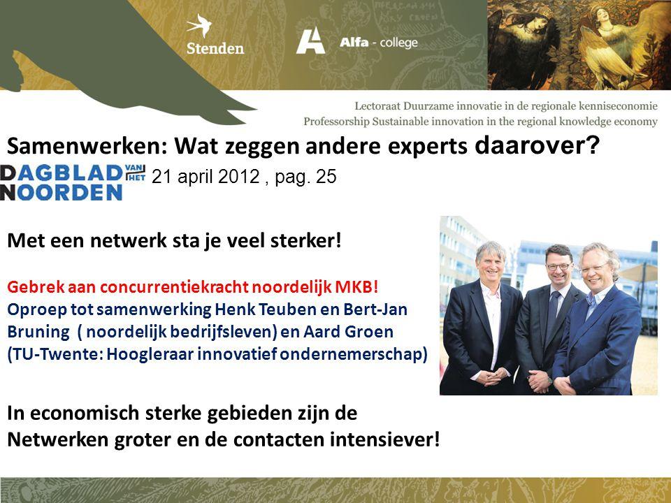 Samenwerken: Wat zeggen andere experts daarover. 21 april 2012, pag.