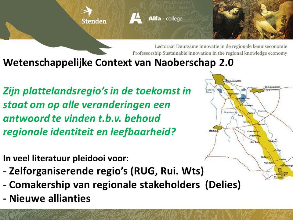 Wetenschappelijke Context van Naoberschap 2.0 Zijn plattelandsregio's in de toekomst in staat om op alle veranderingen een antwoord te vinden t.b.v.