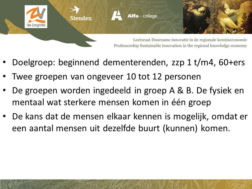 Doelgroep: beginnend dementerenden, zzp 1 t/m4, 60+ers Twee groepen van ongeveer 10 tot 12 personen De groepen worden ingedeeld in groep A & B. De fys
