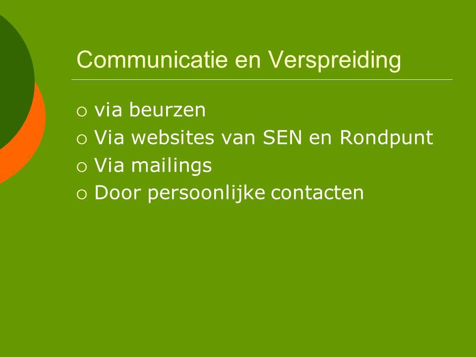 Communicatie en Verspreiding  via beurzen  Via websites van SEN en Rondpunt  Via mailings  Door persoonlijke contacten
