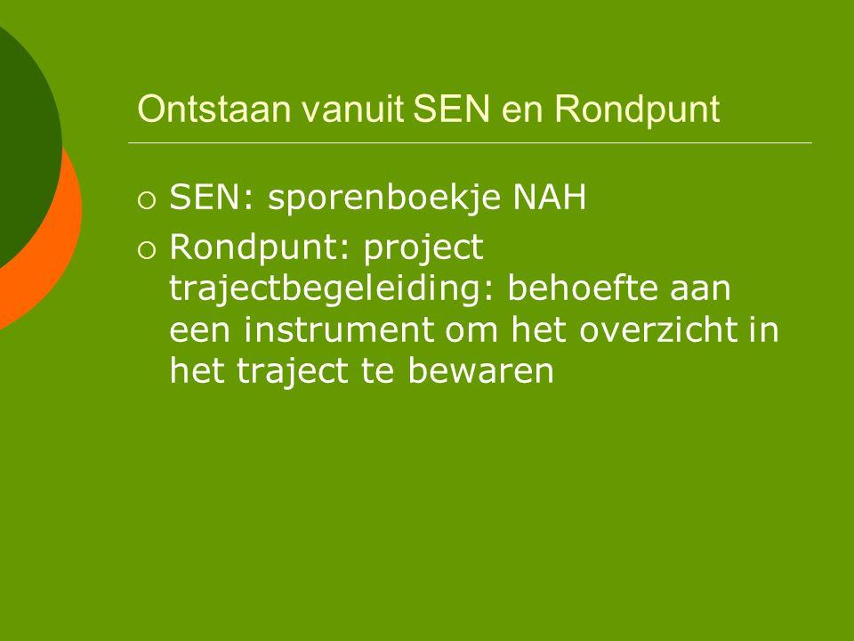 Ontstaan vanuit SEN en Rondpunt  SEN: sporenboekje NAH  Rondpunt: project trajectbegeleiding: behoefte aan een instrument om het overzicht in het traject te bewaren