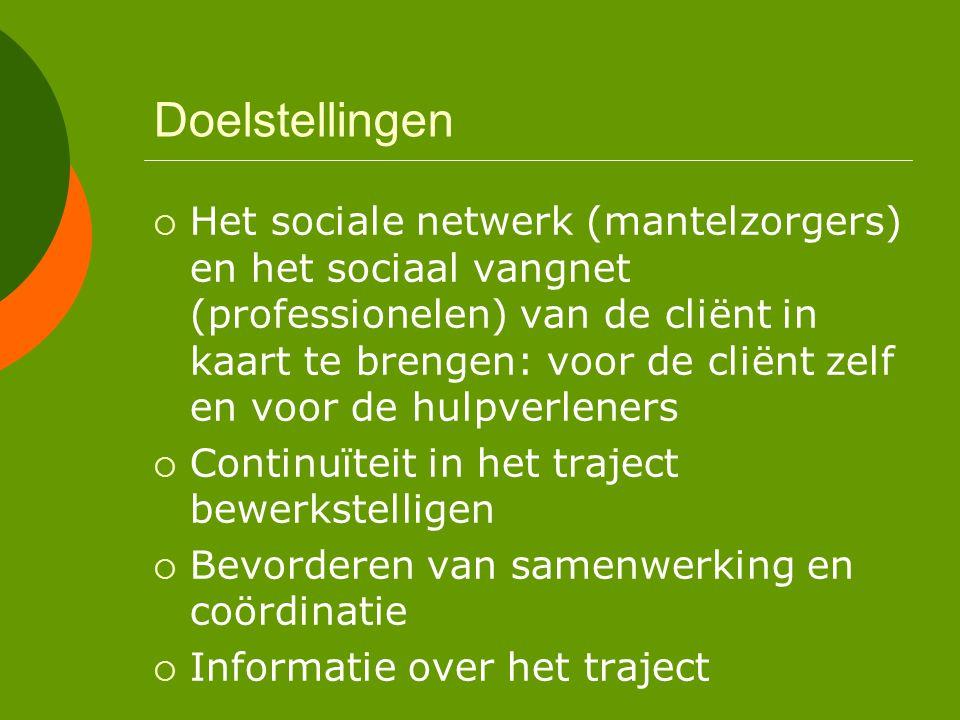 Doelstellingen  Het sociale netwerk (mantelzorgers) en het sociaal vangnet (professionelen) van de cliënt in kaart te brengen: voor de cliënt zelf en