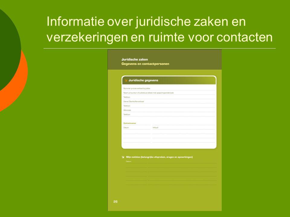 Overige opbouw  Ruimte voor persoonlijke notities  Handige informatie  Gebruiksaanwijzing voor hulpverleners