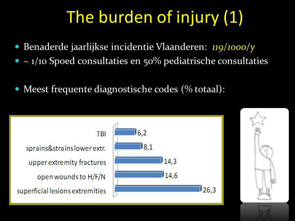 The burden of injury (2)  13.5% consult na doorverwijzing  moment van consultatie:  22-6h: 5.3%  16-21h: 48.9%  Moment ongeval: mediaan 15h; 32.8% Zat.
