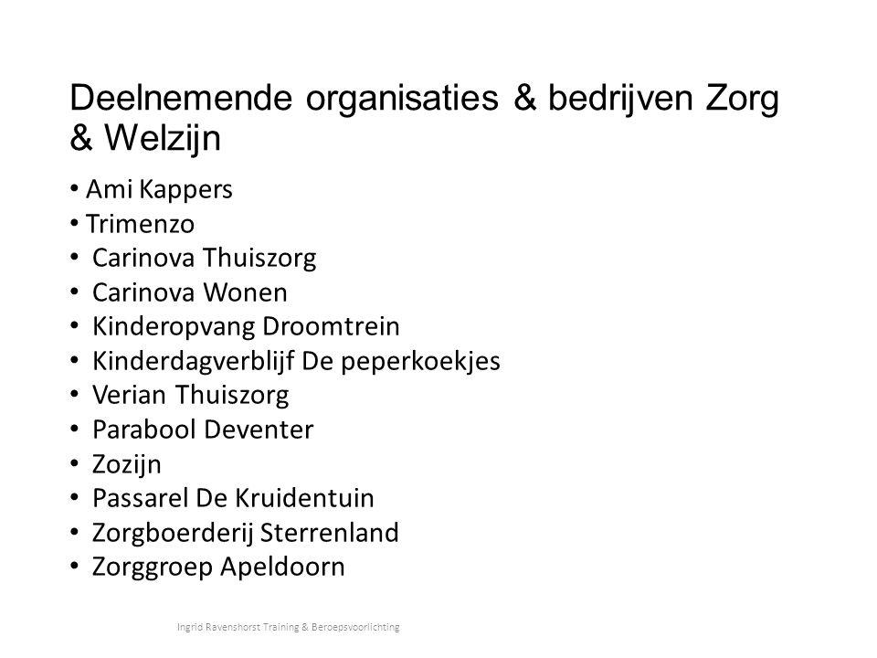 Deelnemende organisaties & bedrijven Zorg & Welzijn Ami Kappers Trimenzo Carinova Thuiszorg Carinova Wonen Kinderopvang Droomtrein Kinderdagverblijf D