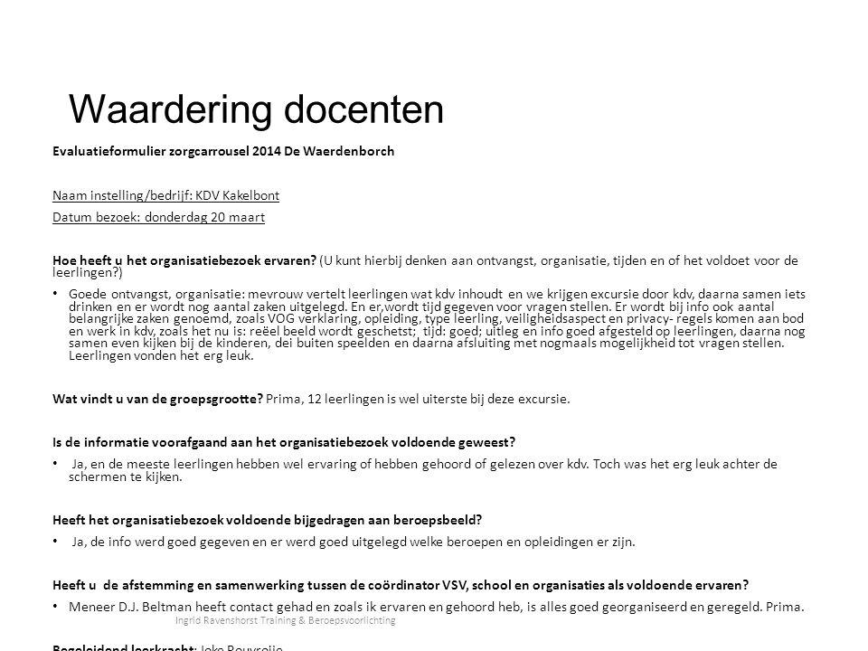 Waardering docenten Evaluatieformulier zorgcarrousel 2014 De Waerdenborch Naam instelling/bedrijf: KDV Kakelbont Datum bezoek: donderdag 20 maart Hoe