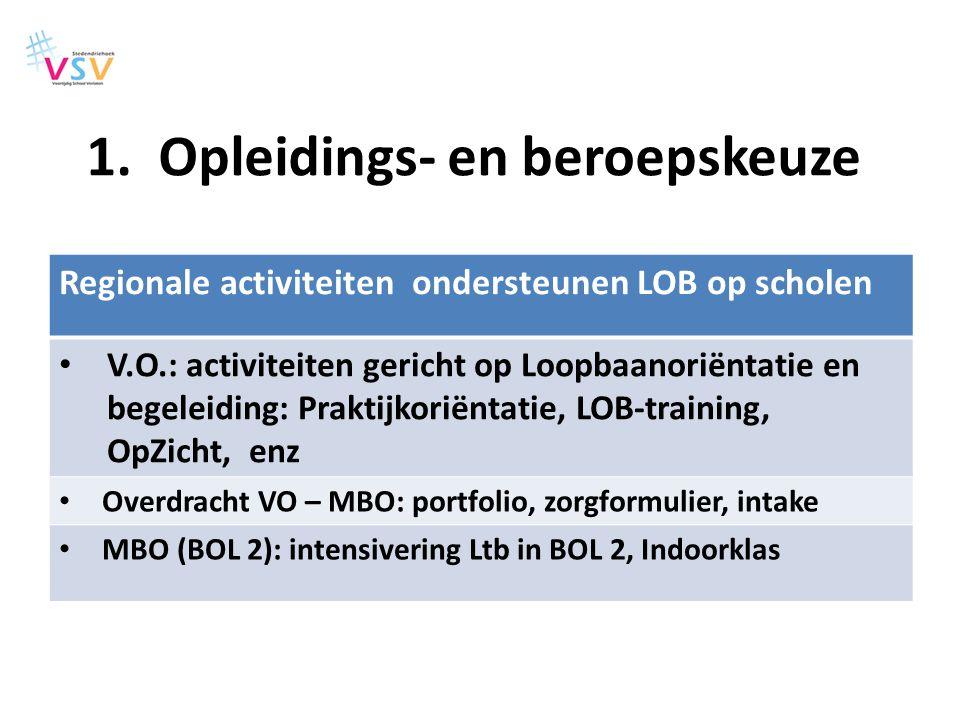 Regionale activiteiten ondersteunen LOB op scholen V.O.: activiteiten gericht op Loopbaanoriëntatie en begeleiding: Praktijkoriëntatie, LOB-training,
