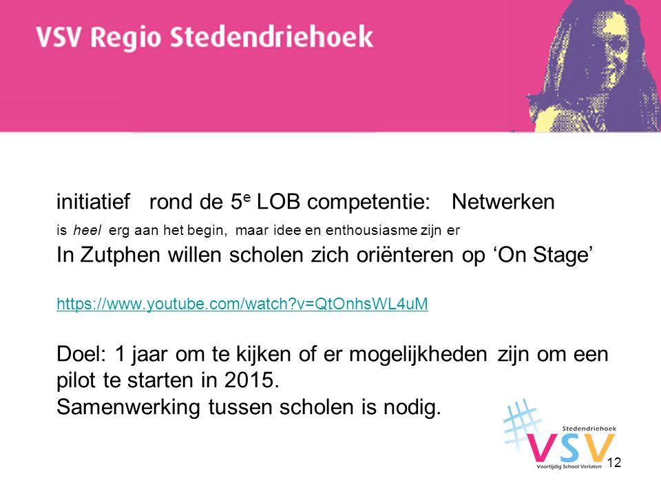 initiatief rond de 5 e LOB competentie: Netwerken is heel erg aan het begin, maar idee en enthousiasme zijn er In Zutphen willen scholen zich oriënter