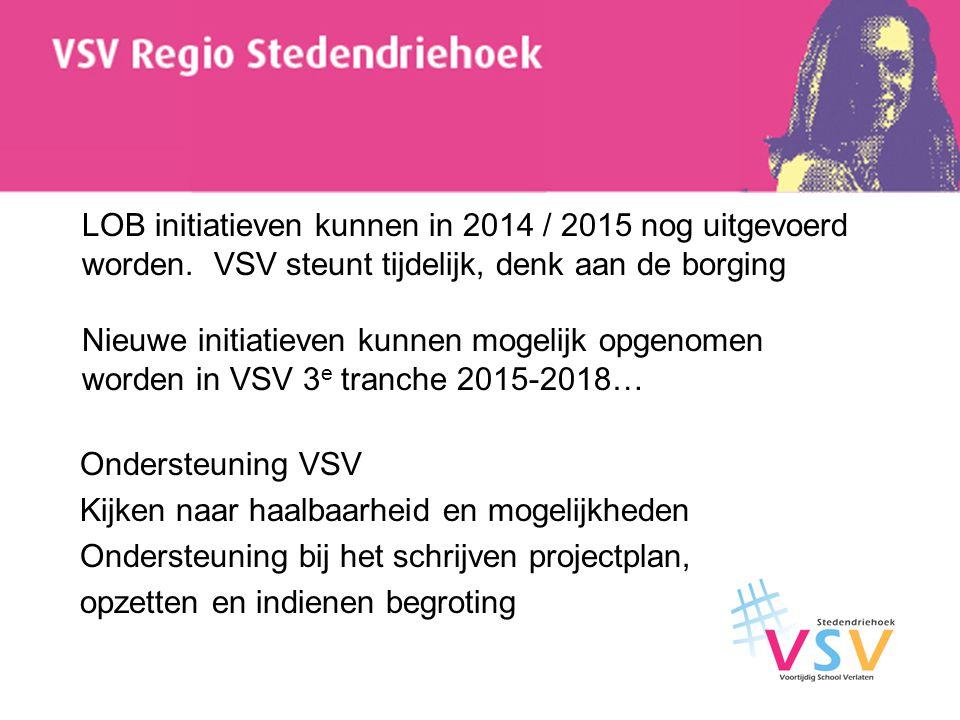 LOB initiatieven kunnen in 2014 / 2015 nog uitgevoerd worden. VSV steunt tijdelijk, denk aan de borging Nieuwe initiatieven kunnen mogelijk opgenomen