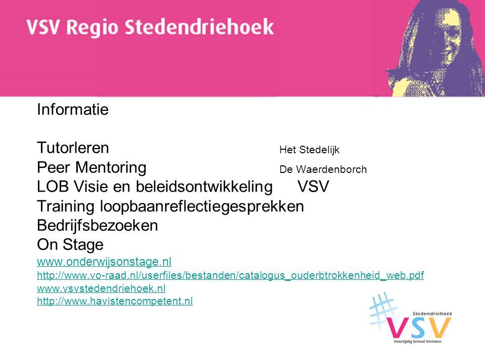 Informatie Tutorleren Het Stedelijk Peer Mentoring De Waerdenborch LOB Visie en beleidsontwikkeling VSV Training loopbaanreflectiegesprekken Bedrijfsb
