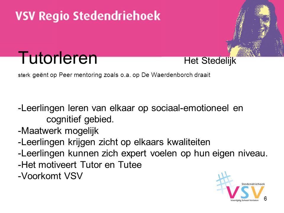 6 Tutorleren Het Stedelijk sterk geënt op Peer mentoring zoals o.a. op De Waerdenborch draait -Leerlingen leren van elkaar op sociaal-emotioneel en co