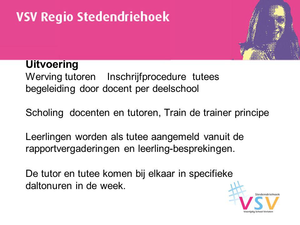 Uitvoering Werving tutoren Inschrijfprocedure tutees begeleiding door docent per deelschool Scholing docenten en tutoren, Train de trainer principe Le