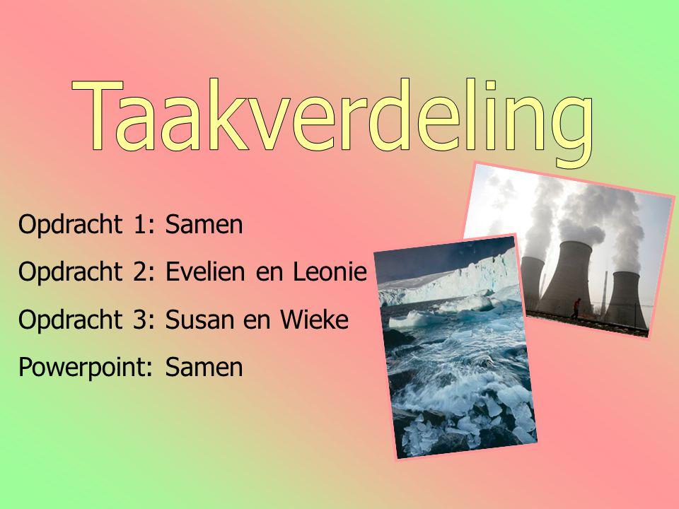 Opdracht 1: Samen Opdracht 2: Evelien en Leonie Opdracht 3: Susan en Wieke Powerpoint: Samen