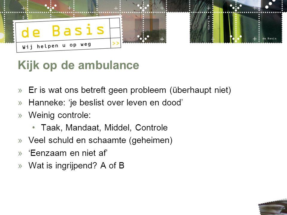 Kijk op de ambulance »Er is wat ons betreft geen probleem (überhaupt niet) »Hanneke: 'je beslist over leven en dood' »Weinig controle: Taak, Mandaat,