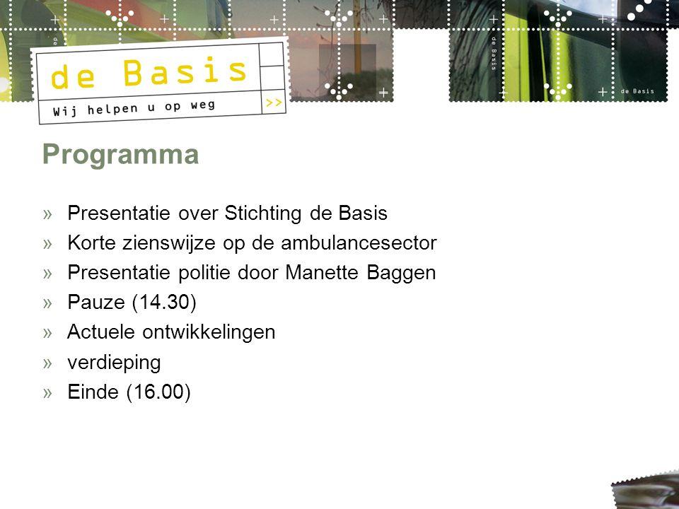 Programma »Presentatie over Stichting de Basis »Korte zienswijze op de ambulancesector »Presentatie politie door Manette Baggen »Pauze (14.30) »Actuel